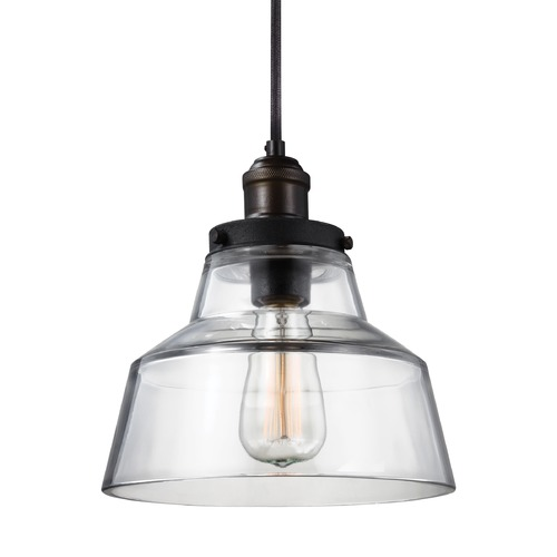 Feiss Lighting Feiss Baskin Painted Aged Brass / Dark Weathered Zinc Mini-Pendant Light with Drum Shade P1348PAGB/DWZ