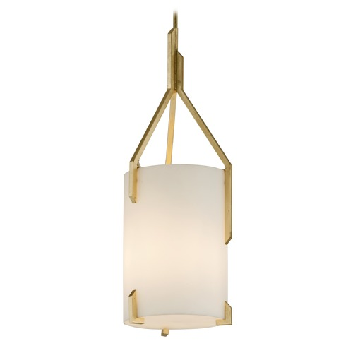 Troy Lighting Troy Lighting Quantum Gold Leaf Pendant Light with Cylindrical Shade F5236