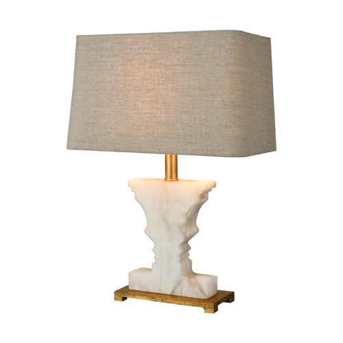 Dimond Lighting Dimond Cheviot Hills White Alabaster and Gold Leaf Table Lamp with Rectangle Shade 1202-007
