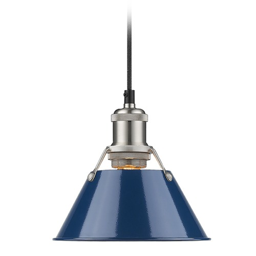 Golden Lighting Golden Lighting Orwell Pw Pewter Mini-Pendant Light with Conical Shade 3306-S PW-NVY