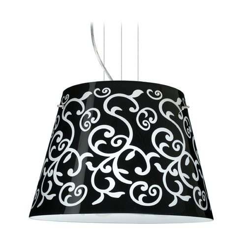 Besa Lighting Modern Drum Pendant Light with Black Glass in Satin Nickel Finish 1KV-4394BD-SN
