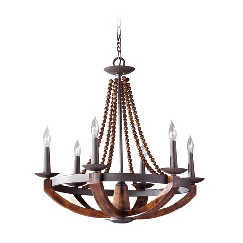 Feiss Lighting Feiss 6-Light Chandelier in Rustic Iron Burnished Wood F2749/6RI/BWD