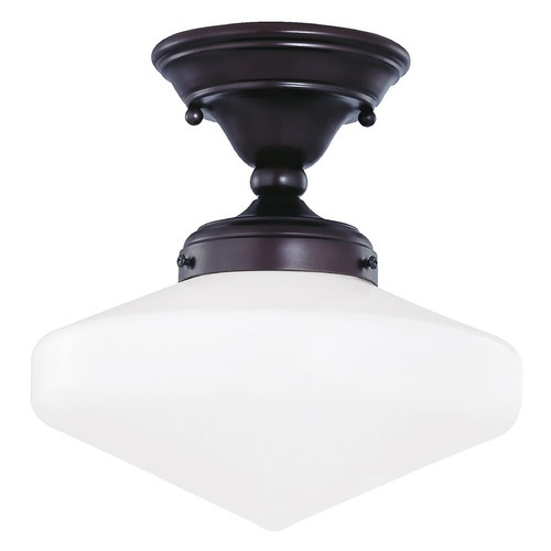 Design Classics Lighting 10-Inch Schoolhouse Ceiling Light in Bronze Finish FAS-220 / GE10