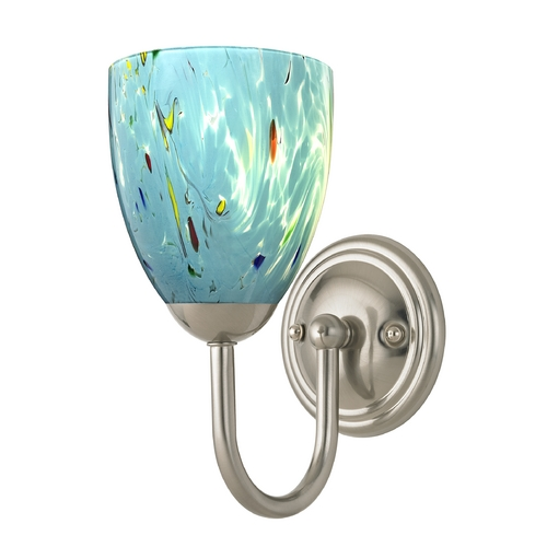 Design Classics Lighting Sconce with Turquoise Art Glass in Satin Nickel Finish 593-09 GL1021MB