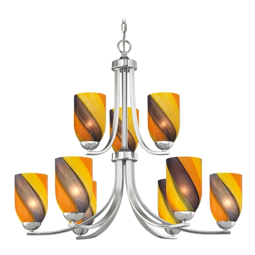 Design Classics Lighting Modern Chandelier with Art Glass in Polished Chrome Finish 586-26 GL1015D