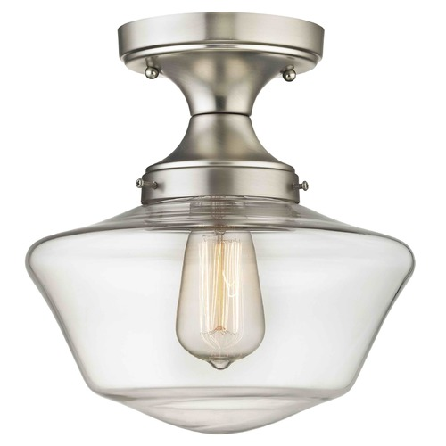 Design Classics Lighting Clear Glass Schoolhouse Semi Flush Ceiling Light Satin Nickel 10-Inch FDS-09 / GA10-CL