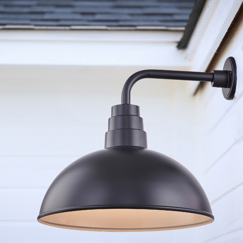 Recesso Lighting by Dolan Designs Black Gooseneck Barn Light with 18-Inch Dome Shade BL-ARMD2-BLK/BL-SH18D-BLK