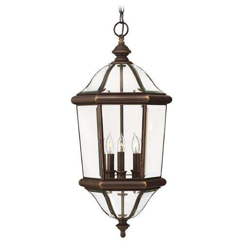 Hinkley Lighting Outdoor Hanging Light with Clear Glass in Copper Bronze Finish 2452CB