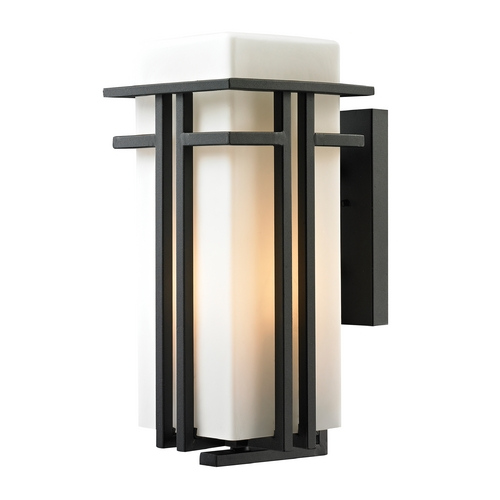 Elk Lighting Outdoor Wall Light with White Glass in Textured Matte Black Finish 45087/1