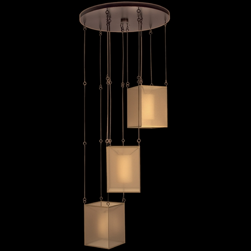 Fine Art Lamps Fine Art Lamps Quadralli Rich Bourbon with Golden Highlights Multi-Light Pendant with Square Shade 435740ST
