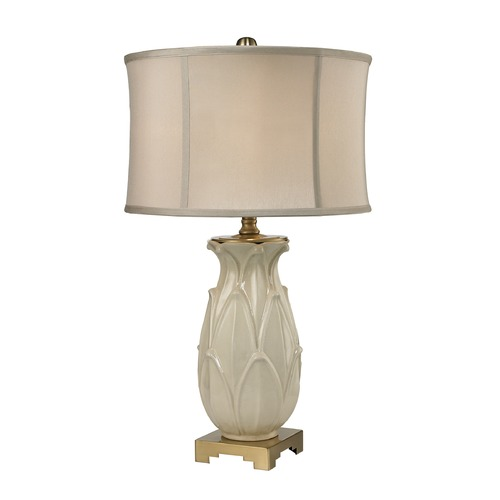 Dimond Lighting Dimond Lighting Ivory Glaze, Antique Brass Table Lamp with Drum Shade D2598