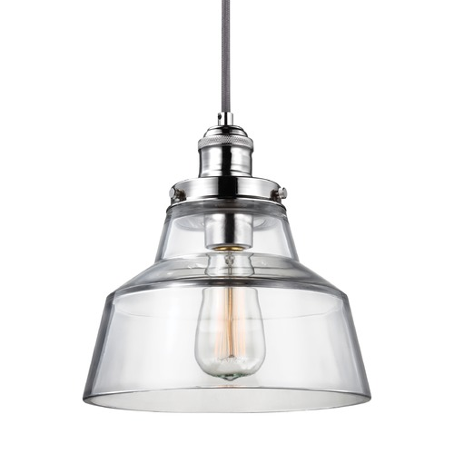 Feiss Lighting Feiss Baskin Polished Nickel Mini-Pendant Light with Drum Shade P1348PN