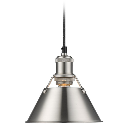 Golden Lighting Golden Lighting Orwell Pw Pewter Mini-Pendant Light with Conical Shade 3306-S PW-PW