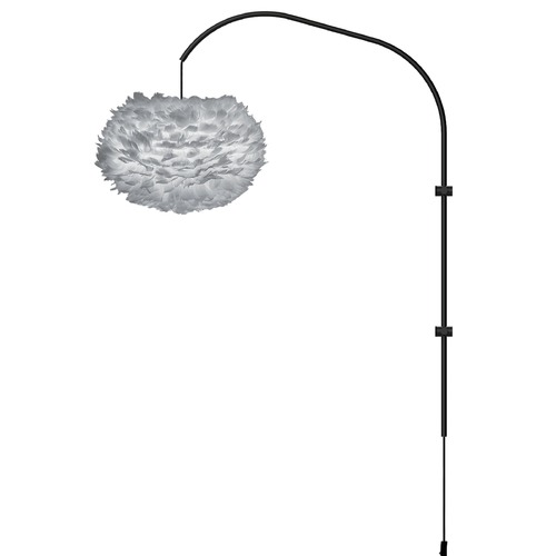 UMAGE Black Wall Lamp with Grey Abstract Feather Shade 3009_4133