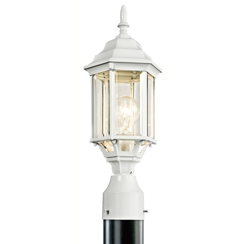 Kichler Lighting Kichler Post Light with Green Glass in White Finish 49256WH
