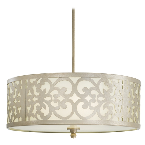 Minka Lavery Drum Pendant Light in Nanti Champagne Silver Finish 1494-252
