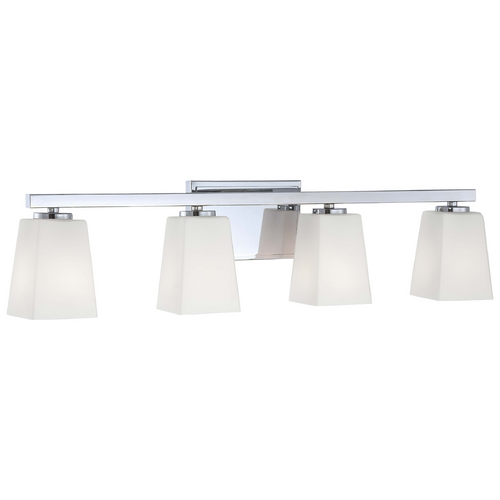 Minka Lavery Modern Bathroom Light with White Glass in Chrome Finish 6544-77