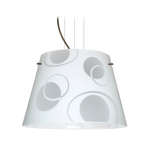 Besa Lighting Modern Drum Pendant Light with White Glass in Bronze Finish 1KV-4394CS-BR