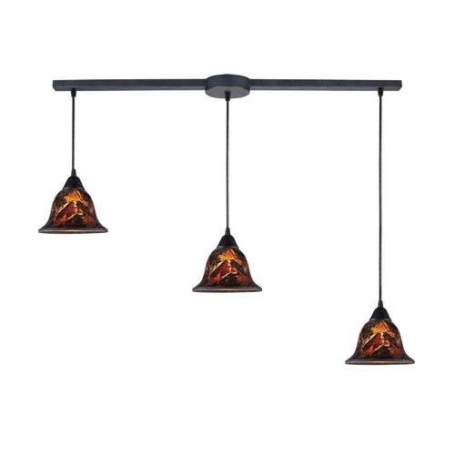 Elk Lighting Modern Multi-Light Pendant Light with Brown Glass and 3-Lights 10144/3L-FS