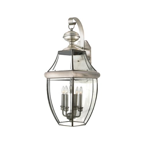 Quoizel Lighting Outdoor Wall Light with Clear Glass in Pewter Finish NY8339P