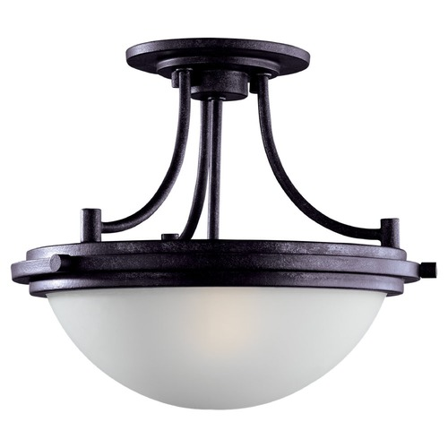 Sea Gull Lighting Modern Semi-Flushmount Light with White Glass in Blacksmith Finish 77660-839