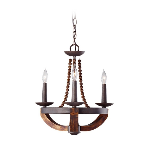 Feiss Lighting Mini-Chandelier in Rustic Iron / Burnished Wood Finish F2750/3RI/BWD