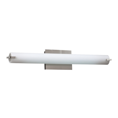 PLC Lighting Modern Bathroom Light with White Glass in Satin Nickel Finish 962 SN