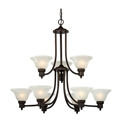 Design Classics Lighting Bronze Chandelier with Alabaster Glass Shades 1651-78