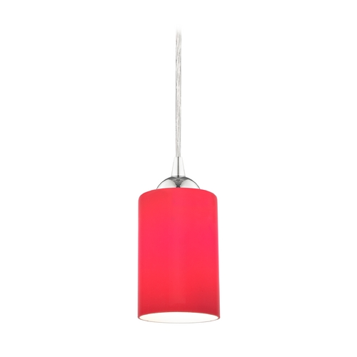 Design Classics Lighting Chrome Mini-Pendant Light with Red Cylinder Glass 582-26 GL1008C
