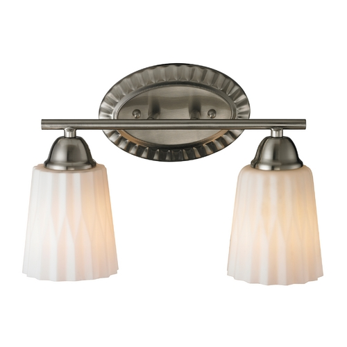 Elk Lighting Bathroom Light with White Glass in Brushed Nickel Finish 11406/2