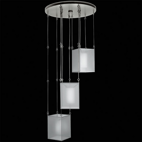 Fine Art Lamps Fine Art Lamps Quadralli Silver Leafed Multi-Light Pendant with Square Shade 435740-2ST