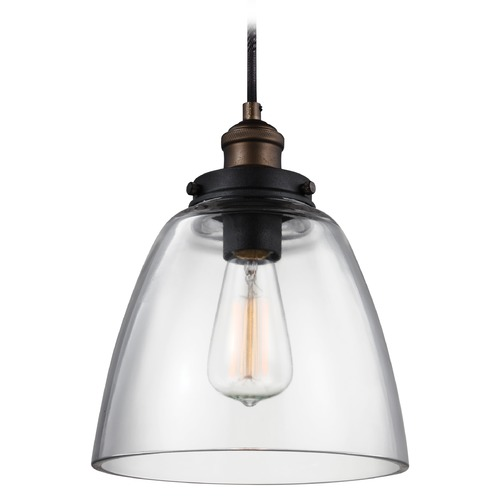 Feiss Lighting Feiss Baskin Aged Brass Mini-Pendant Light P1349PAGB/DWZ
