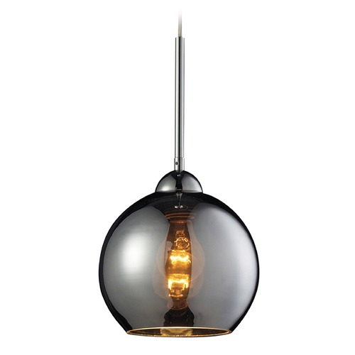 Elk Lighting Cassandra Polished Chrome Mini-Pendant Light with Globe Shade - Includes Recessed Adapter Kit 10240/1CHR-LA