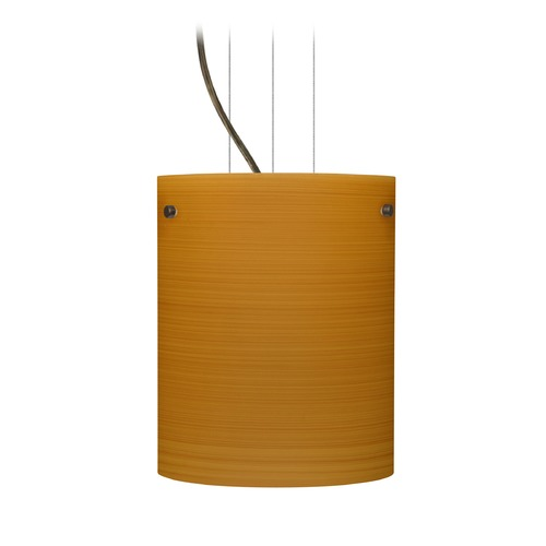 Besa Lighting Besa Lighting Tamburo Bronze LED Mini-Pendant Light with Cylindrical Shade 1KG-4006OK-LED-BR