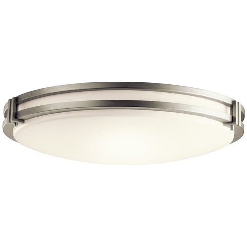 Kichler Lighting Kichler Modern Brushed Nickel Flushmount Light with White Glass 10828NI