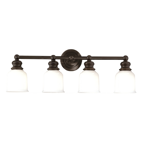 Hudson Valley Lighting Bathroom Light with White Glass in Old Bronze Finish 2304-OB