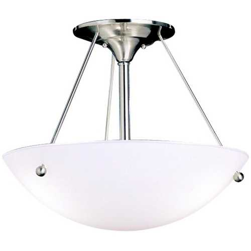 Kichler Lighting Kichler Brushed Nickel Semi-Flushmount Ceiling Light with White Glass 3752NI