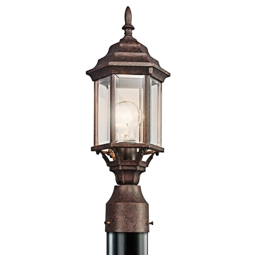 Kichler Lighting Kichler Post Light with Green Glass in Tannery Bronze Finish 49256TZ