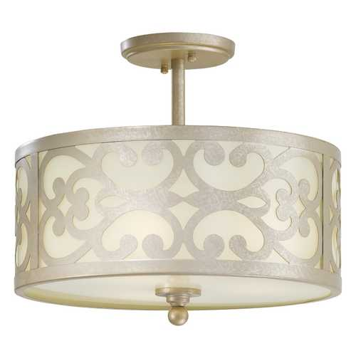 Minka Lavery Semi-Flushmount Light with White Glass in Nanti Champagne Silver Finish 1498-252