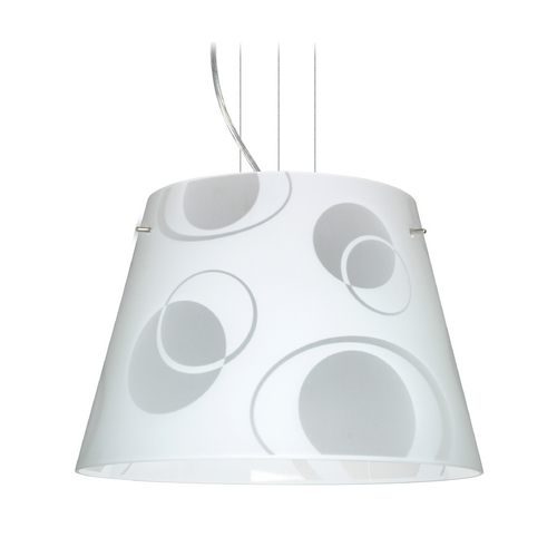 Besa Lighting Modern Drum Pendant Light with White Glass in Satin Nickel Finish 1KV-4394CS-SN