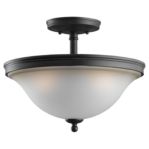 Sea Gull Lighting Semi-Flushmount Light with Amber Glass in Heirloom Bronze Finish 77850-782
