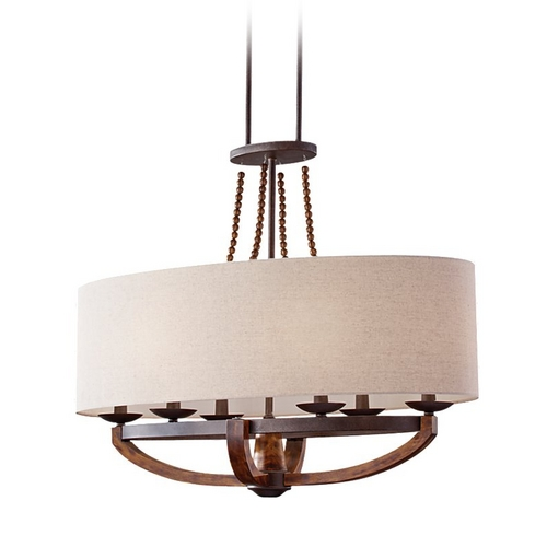 Feiss Lighting Burnished Wood Pendant Light with Oval Shade and Six Lights F2751/6RI/BWD