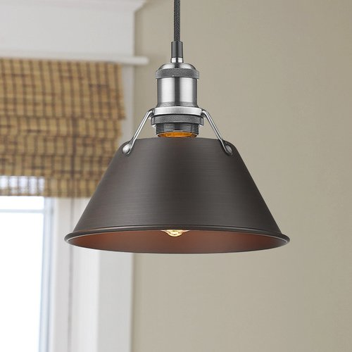 Golden Lighting Golden Lighting Orwell Pw Pewter Mini-Pendant Light with Conical Shade 3306-S PW-RBZ