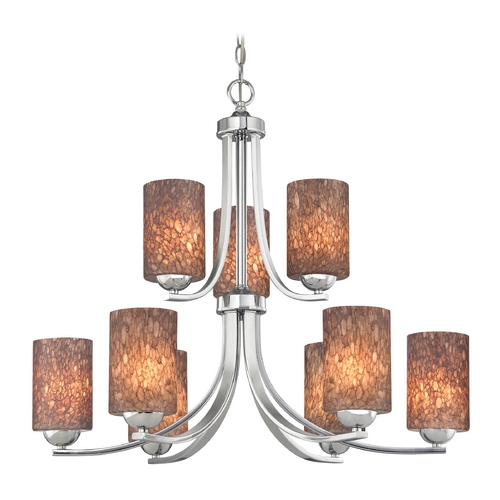 Design Classics Lighting Modern Chandelier with Brown Art Glass in Polished Chrome Finish 586-26 GL1016C
