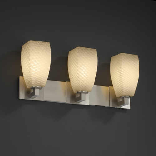 Justice Design Group Justice Design Group Fusion Collection Bathroom Light FSN-8923-65-WEVE-NCKL