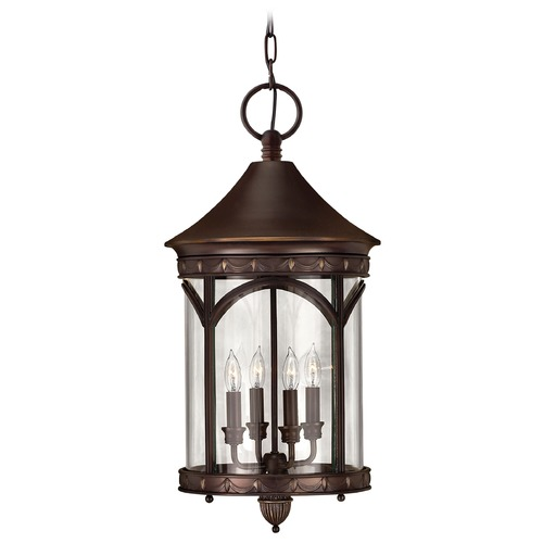 Hinkley Lighting Outdoor Hanging Light with Clear Glass in Copper Bronze Finish 2312CB