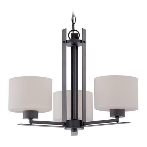 Nuvo Lighting Chandelier with White Glass in Aged Bronze Finish 60/5306