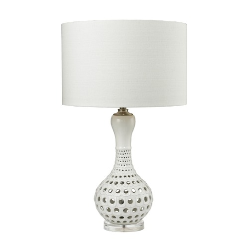 Dimond Lighting Dimond Lighting Gloss White Table Lamp with Drum Shade D2605