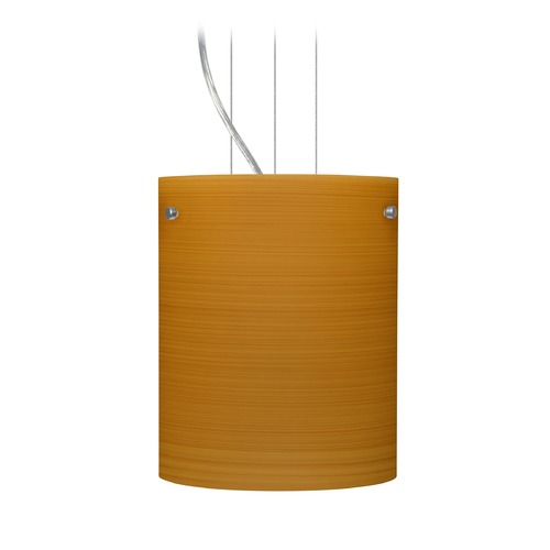 Besa Lighting Besa Lighting Tamburo Satin Nickel LED Mini-Pendant Light with Cylindrical Shade 1KG-4006OK-LED-SN