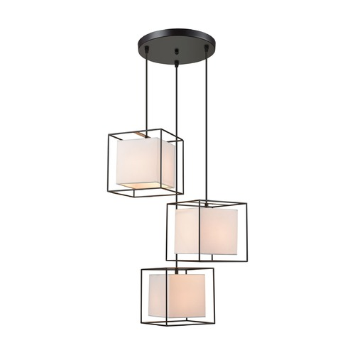 Dimond Lighting Dimond Hundred Box Oil Rubbed Bronze Multi-Light Pendant with Square Shade D3197